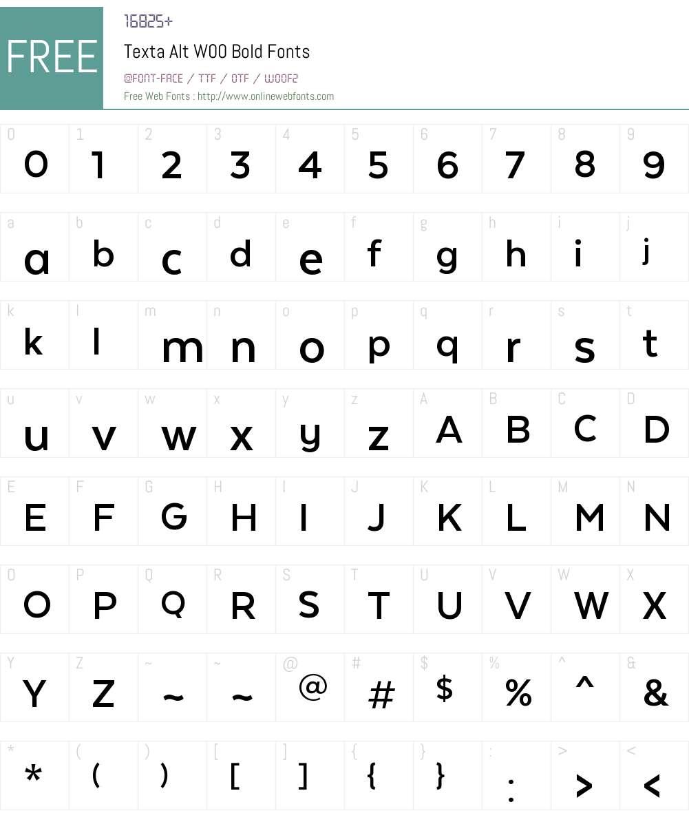 TextaAltW00-Bold Font Screenshots