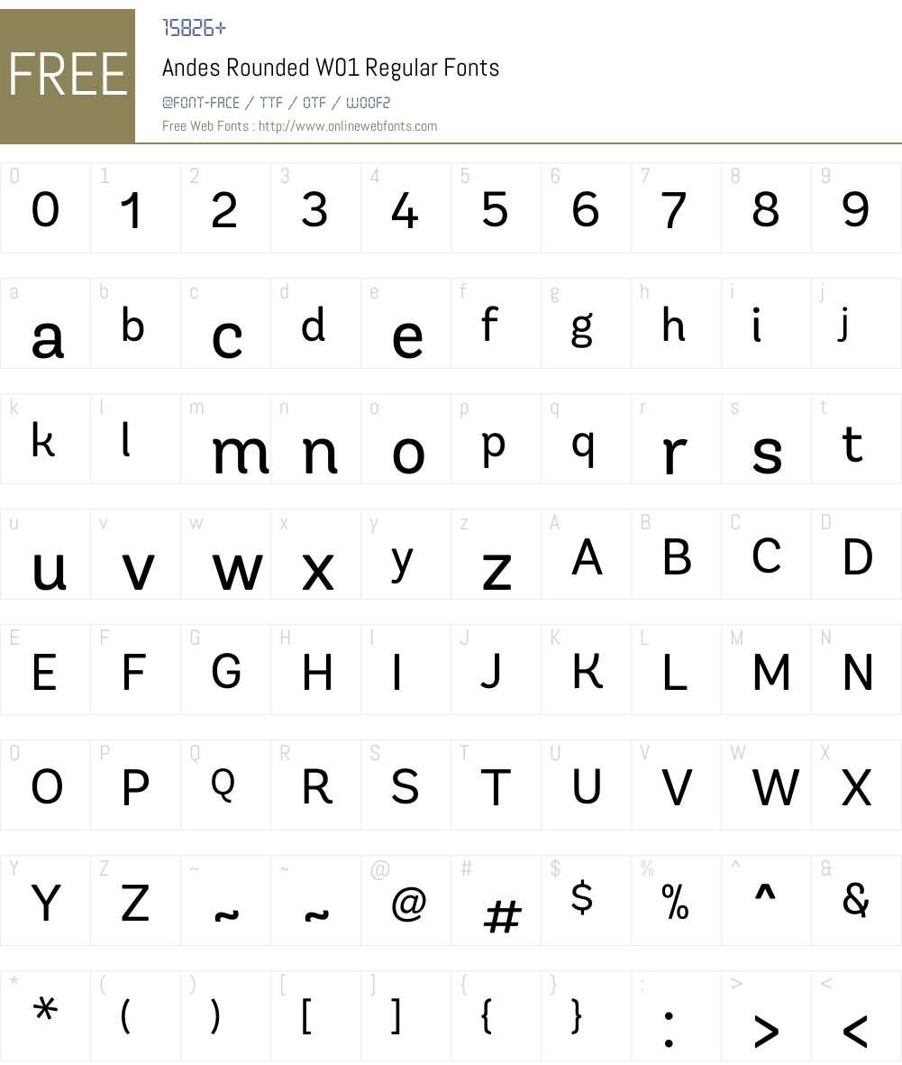 AndesRoundedW01-Regular Font Screenshots