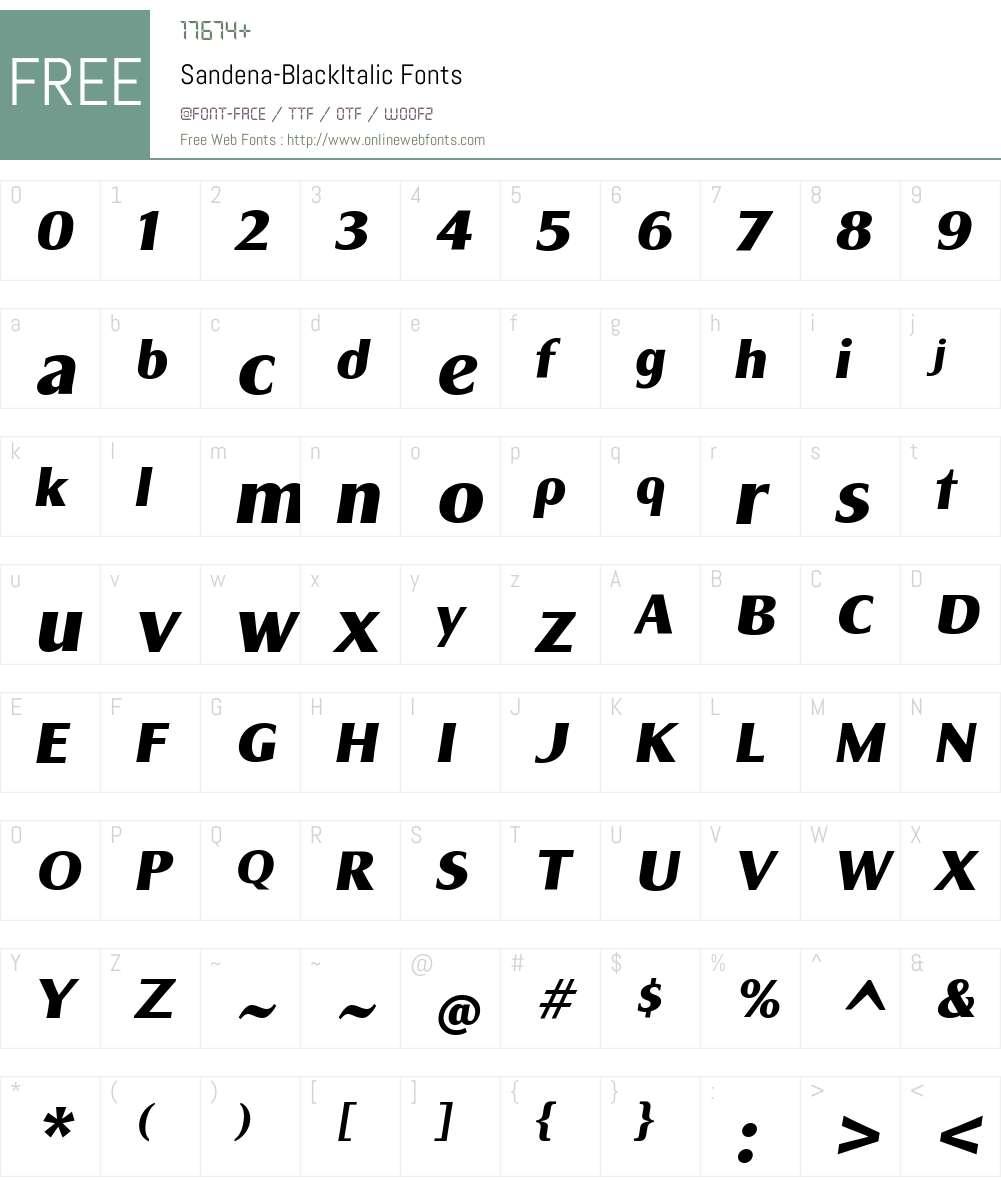Sandena Black Italic Font Screenshots
