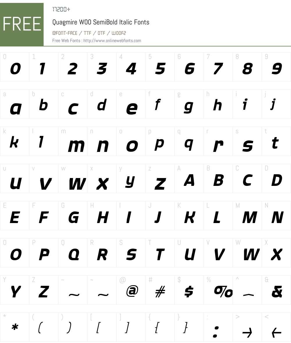 QuagmireW00-SemiBoldItalic Font Screenshots