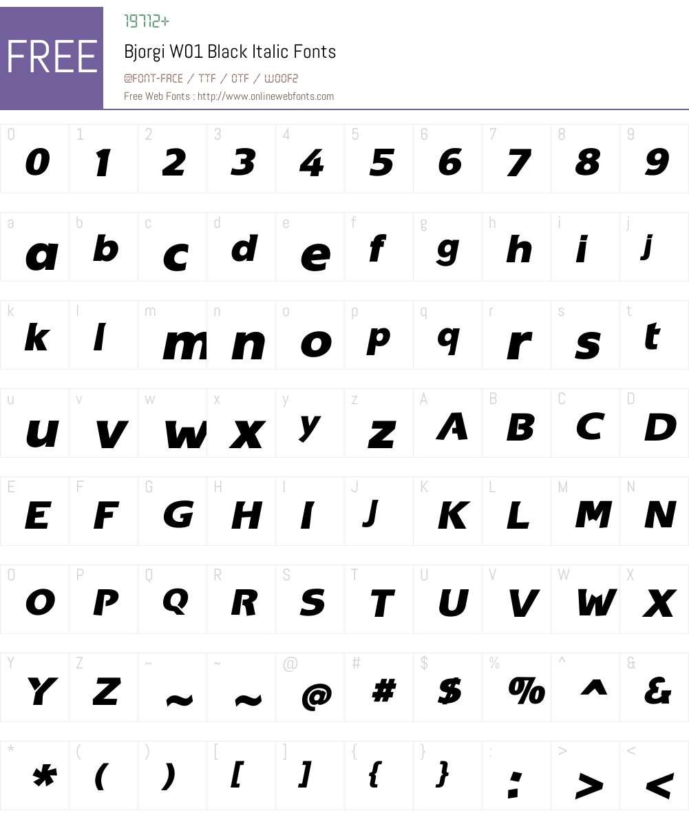 BjorgiW01-BlackItalic Font Screenshots