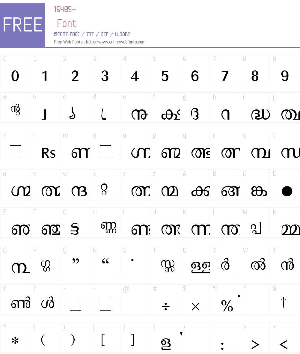 Manorama Font Screenshots