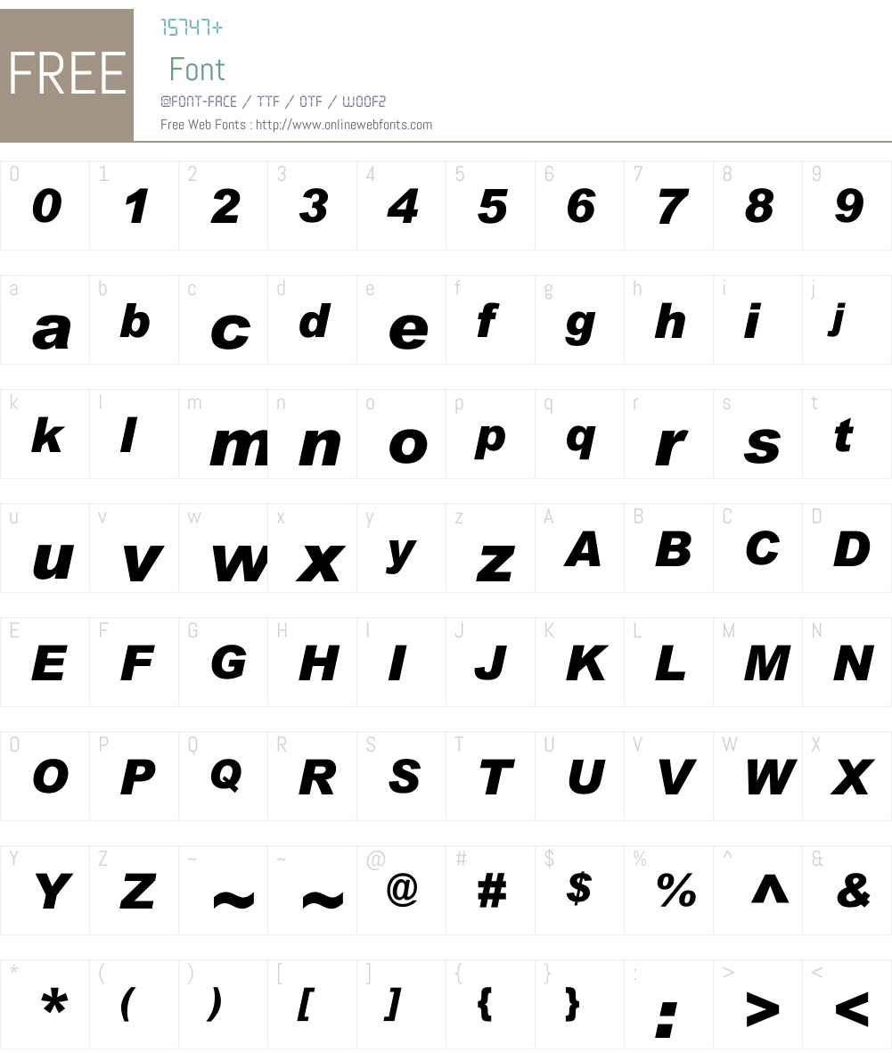 ArialW01-BlackItalic Font Screenshots