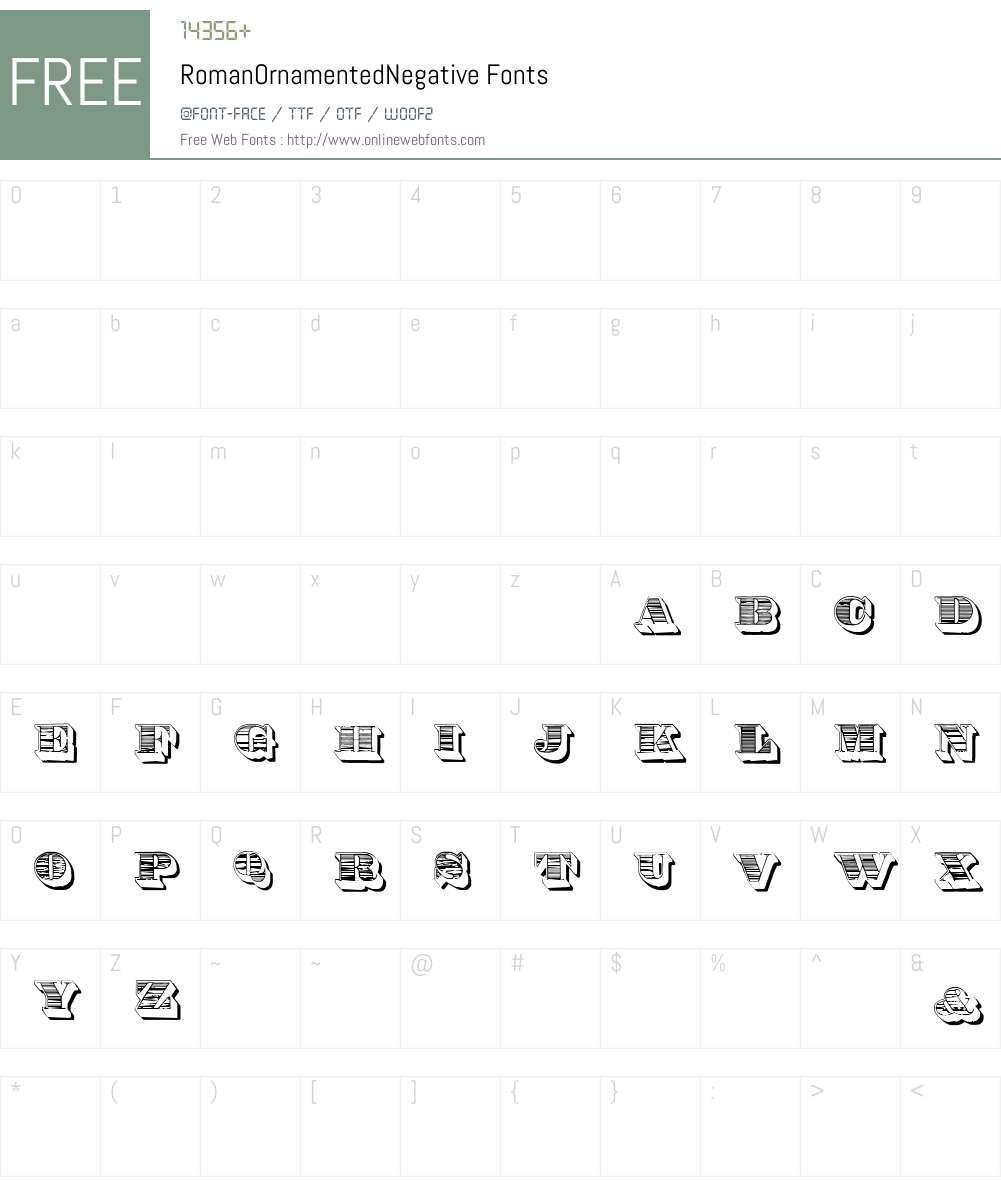 RomanOrnamentedNegative Font Screenshots
