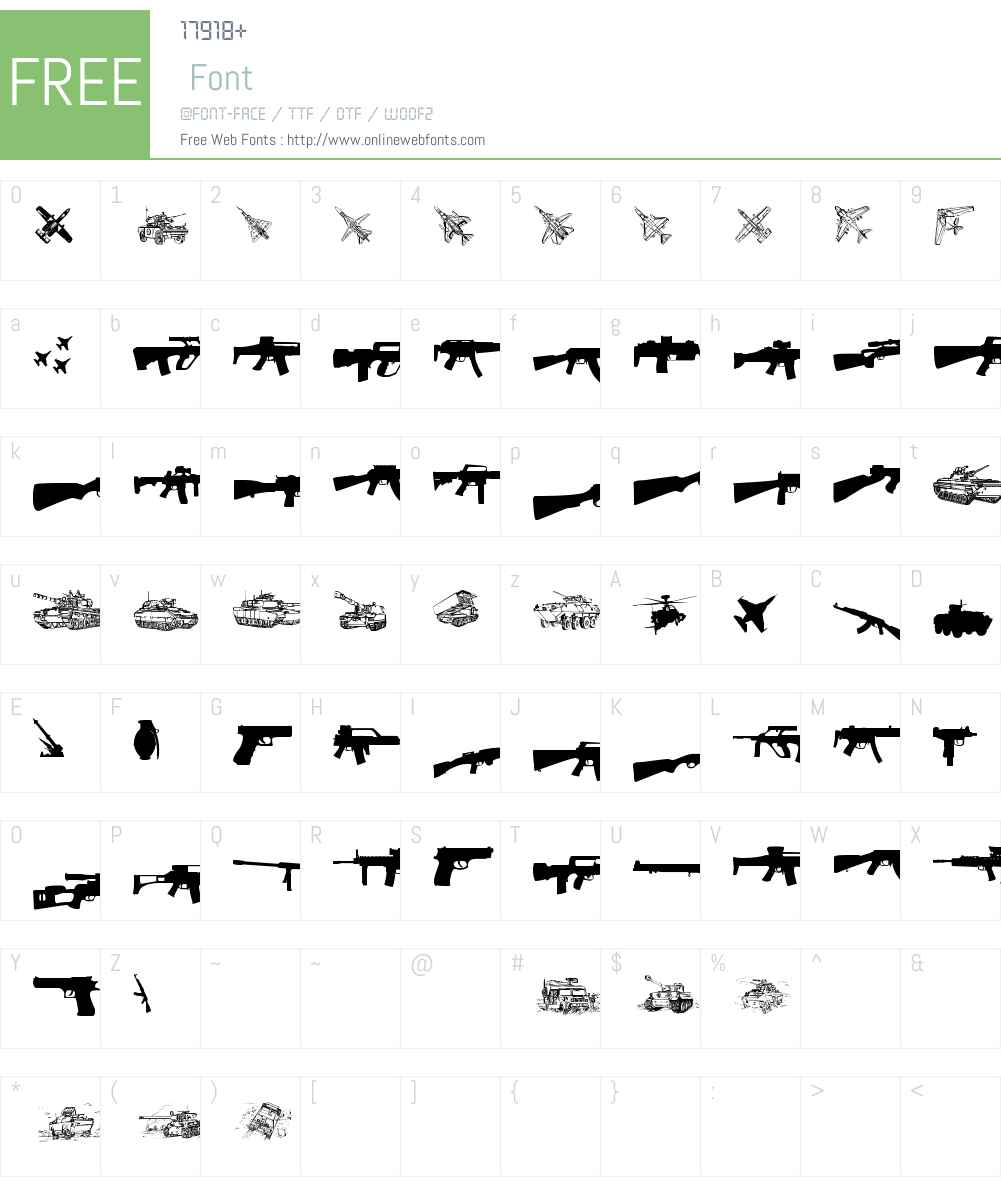 Army weapons tfb Font Screenshots