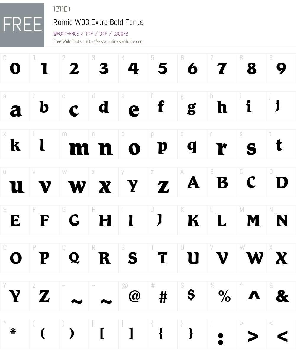 Letraset Romic Font Screenshots