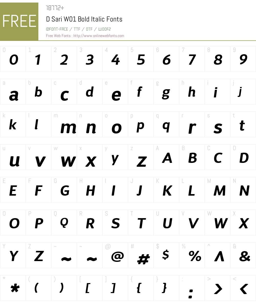 DSariW01-BoldItalic Font Screenshots