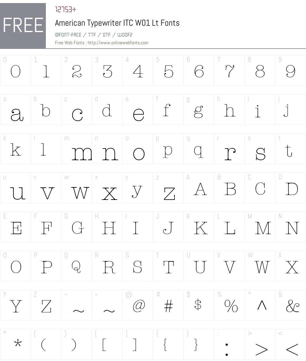 AmericanTypewriterITCW01-Lt Font Screenshots