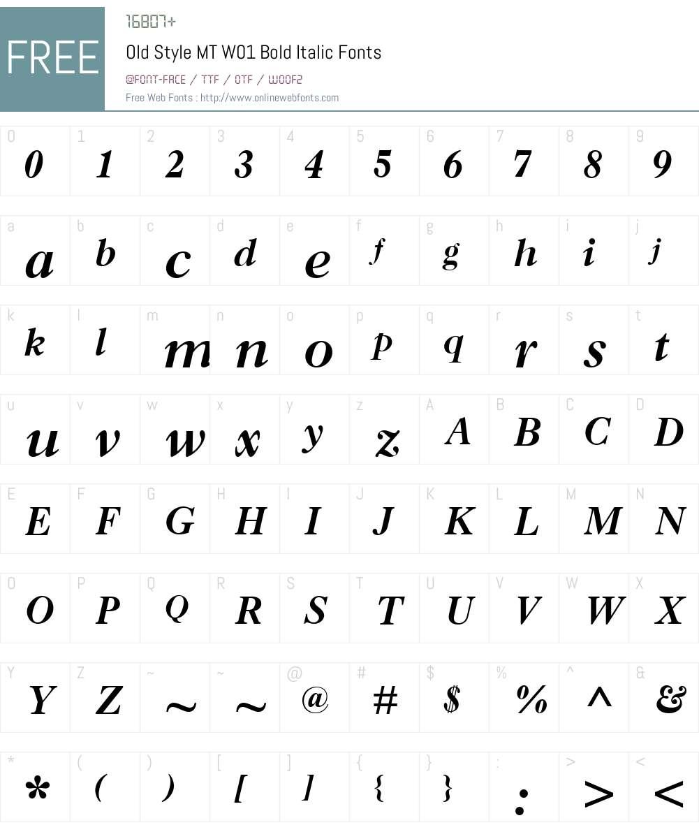 OldStyleMTW01-BoldItalic Font Screenshots