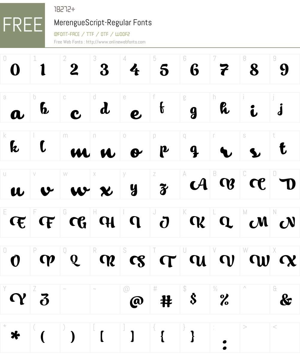 MerengueScript-Regular Font Screenshots