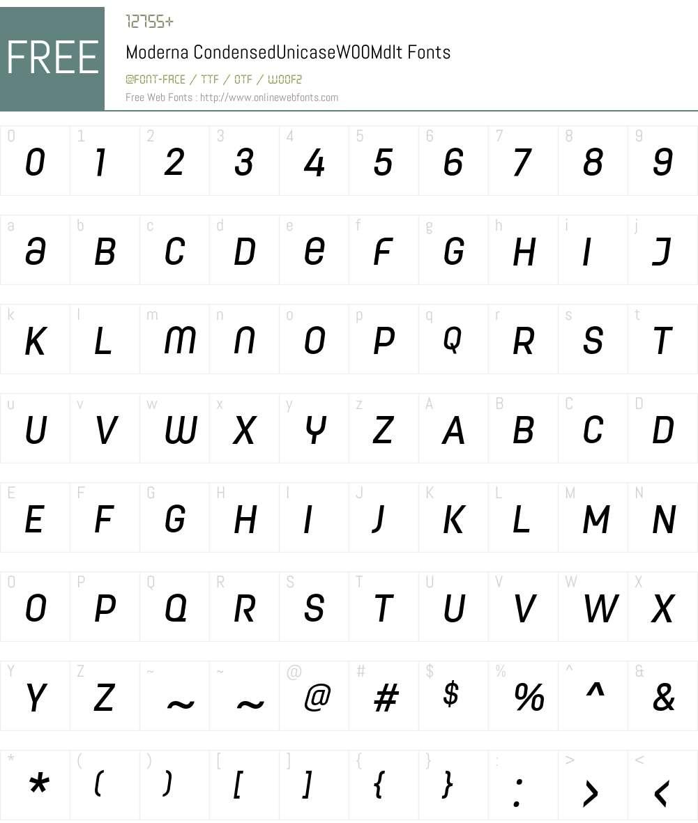 Moderna Condensed Font Screenshots