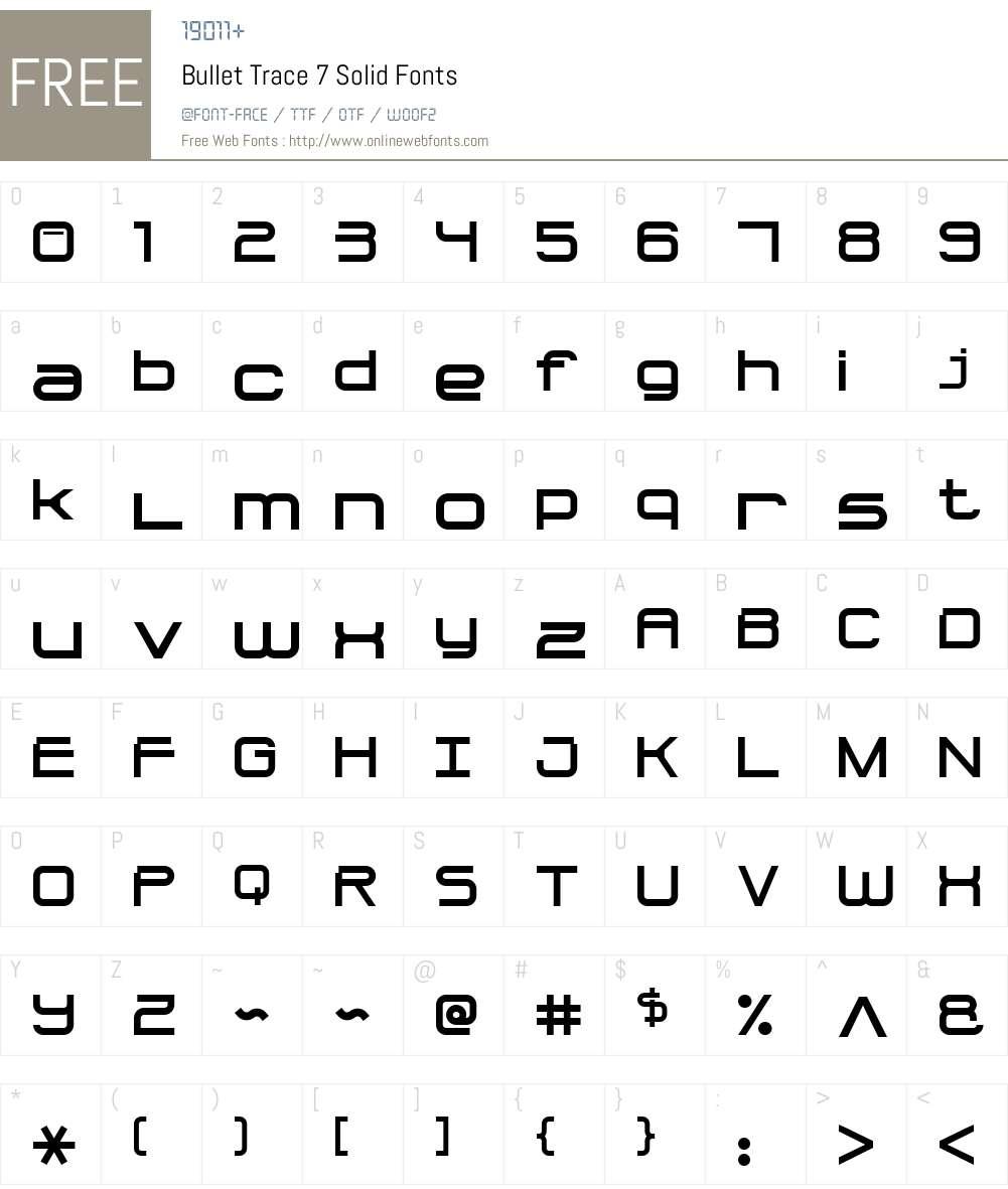 Bullet Trace 7 Solid Font Screenshots