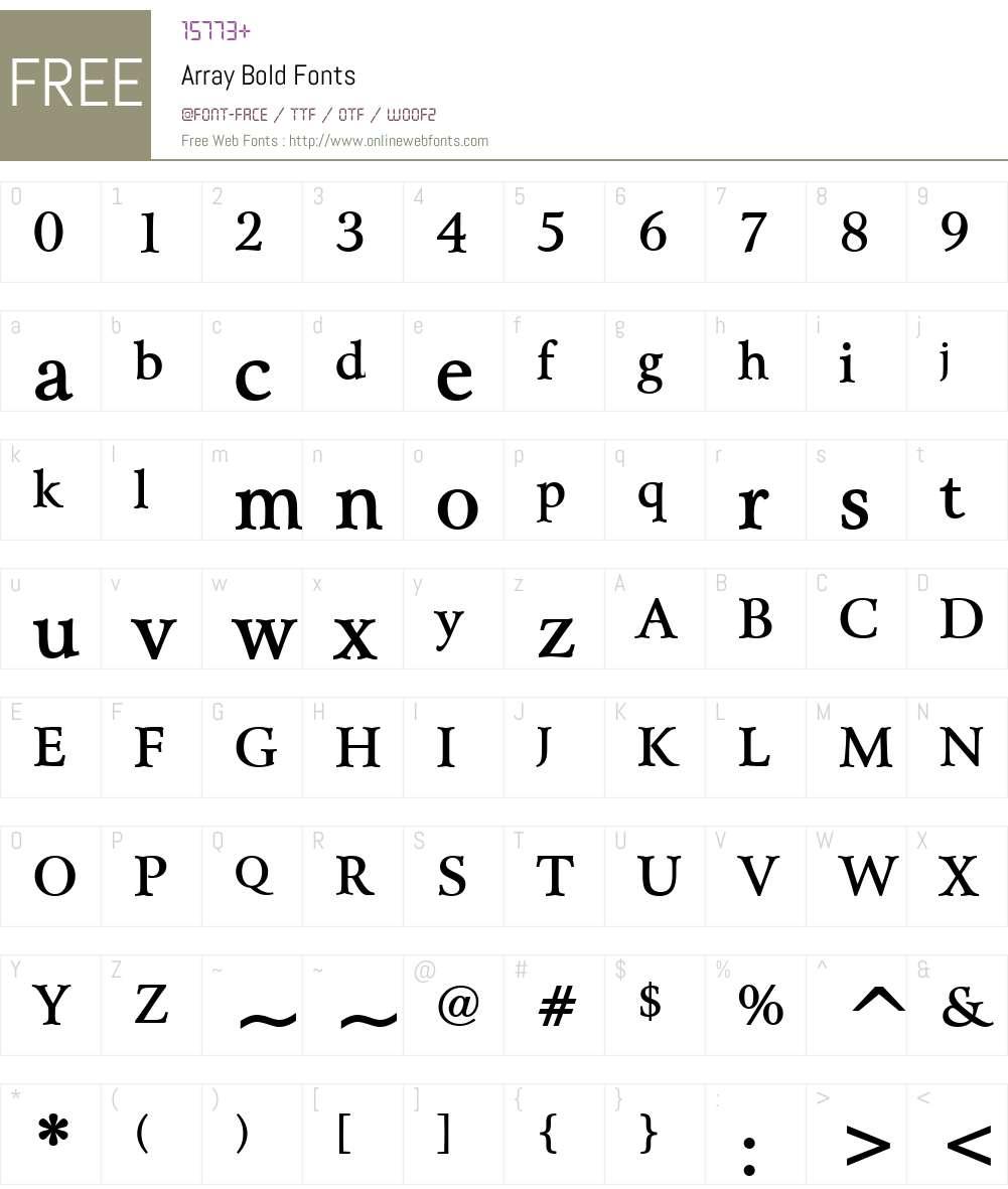 Array Font Screenshots