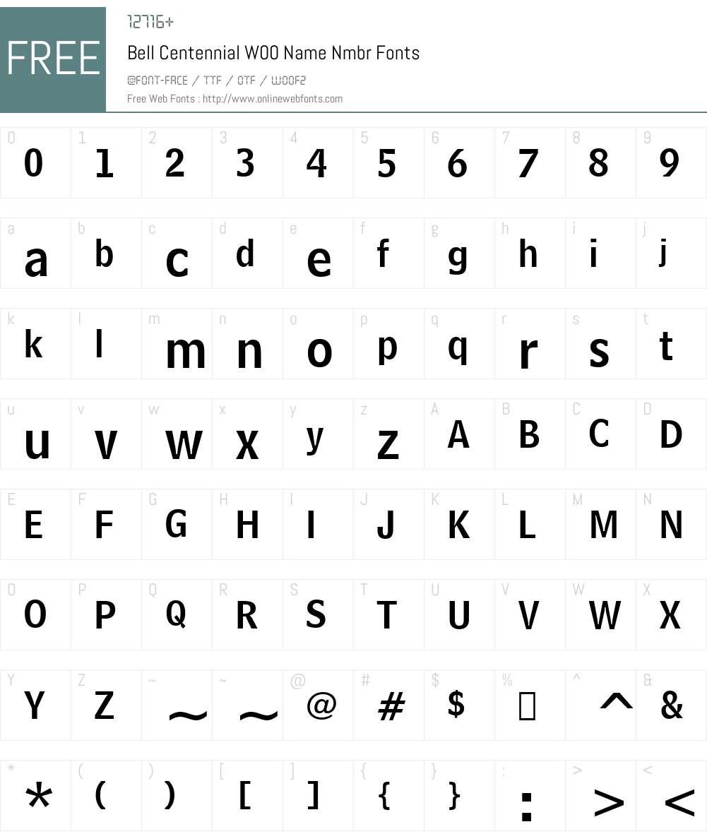 BellCentennialW00-NameNmbr Font Screenshots