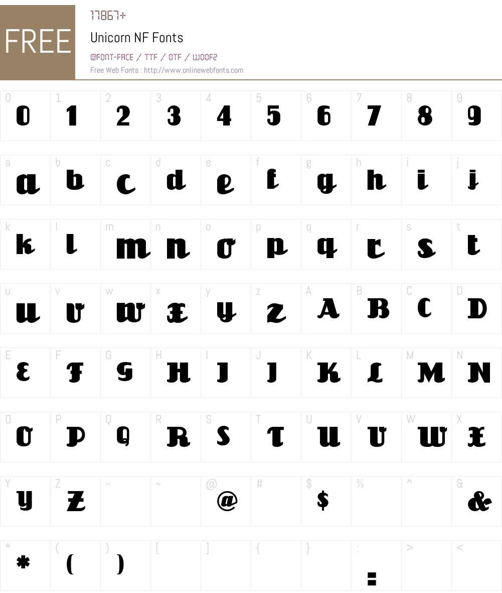 Unicorn NF Font Screenshots