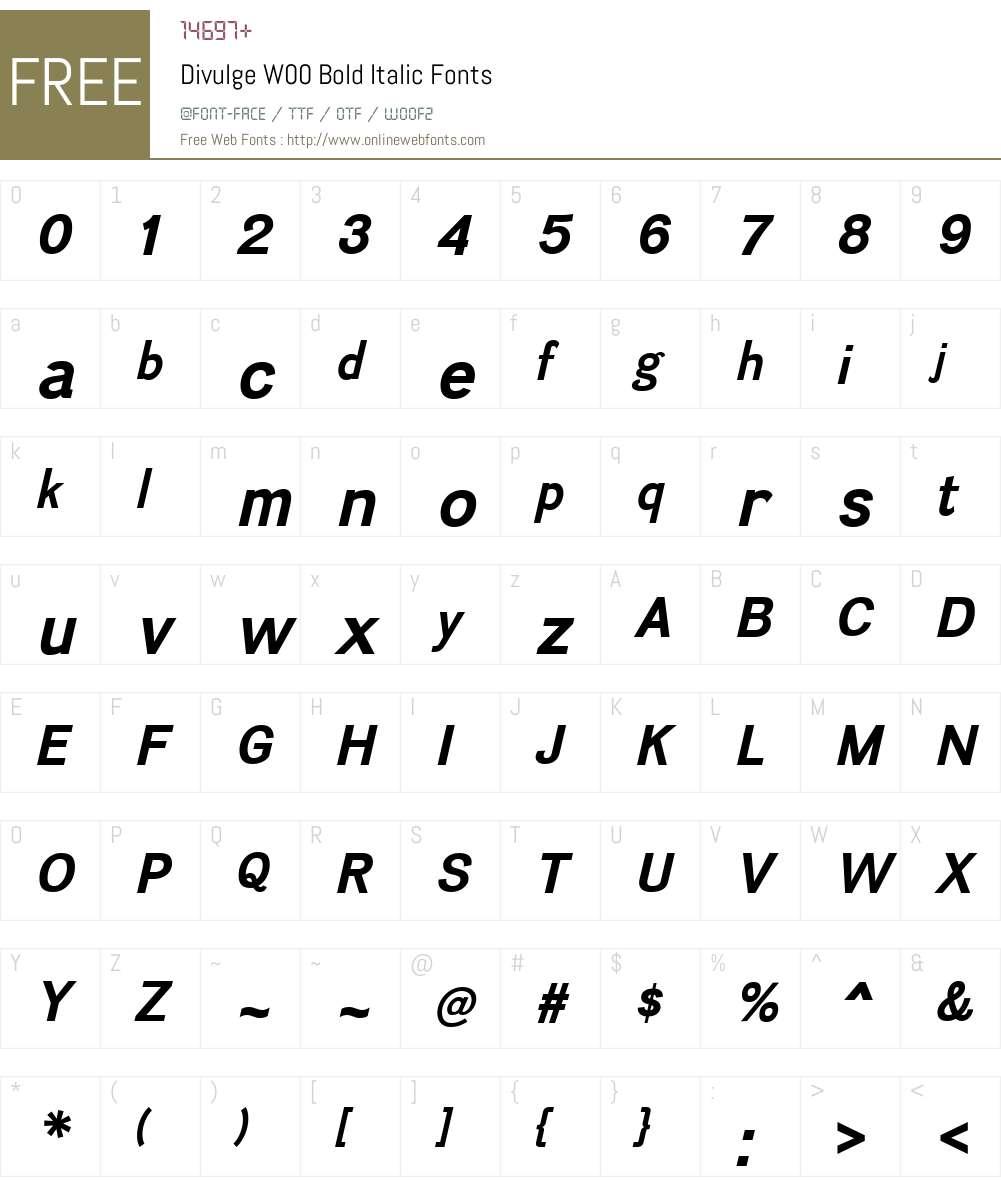 DivulgeW00-BoldItalic Font Screenshots