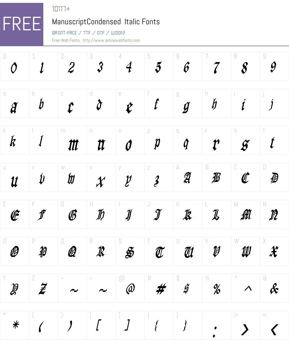 ManuscriptCondensed Font Screenshots