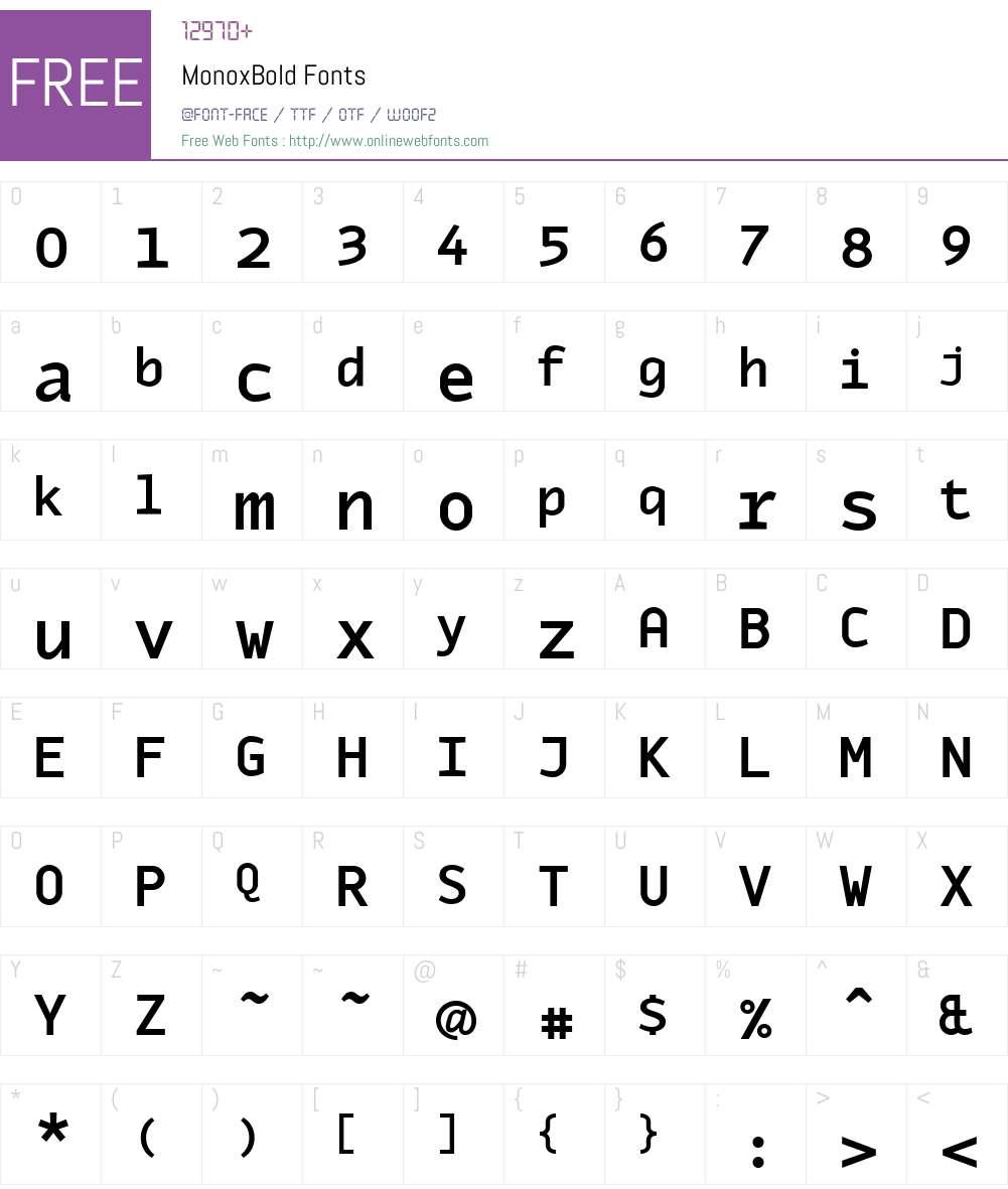 MonoxBold Font Screenshots