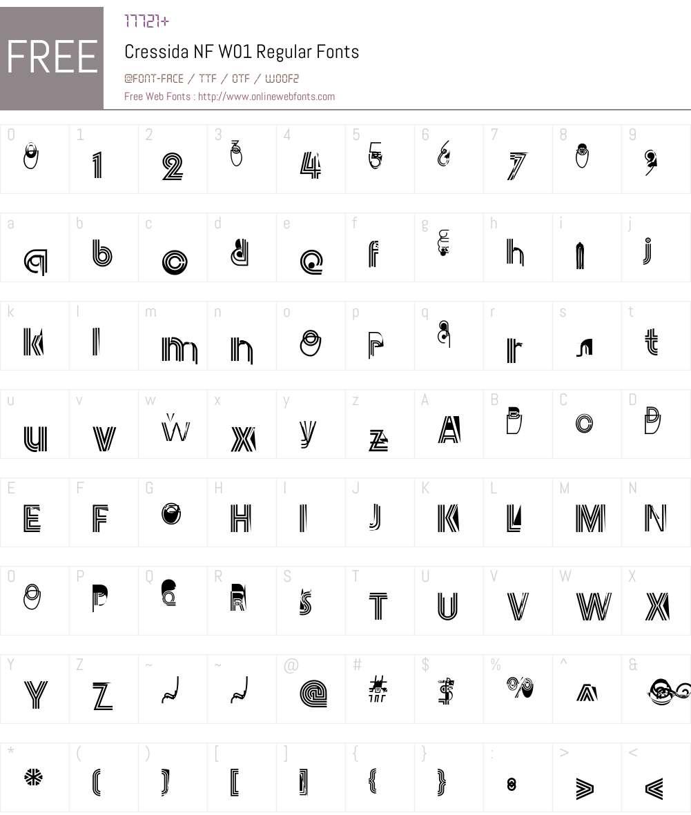 CressidaNFW01-Regular Font Screenshots