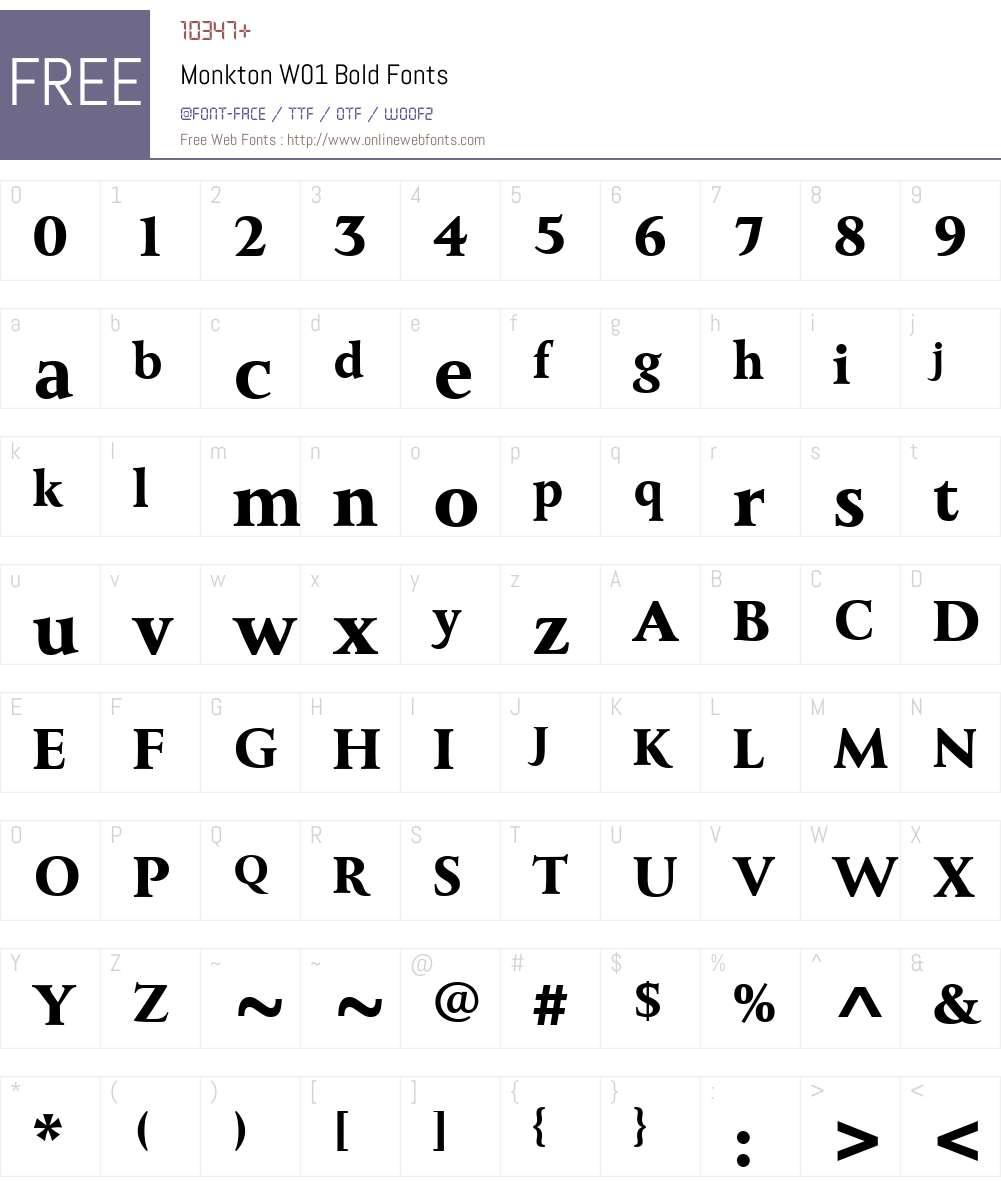 MonktonW01-Bold Font Screenshots