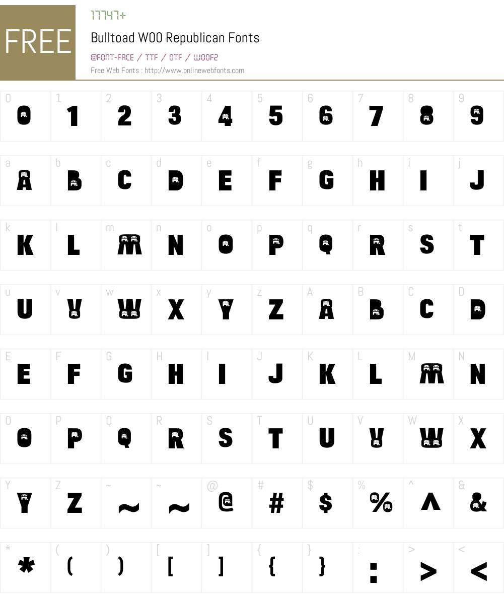 BulltoadW00-Republican Font Screenshots