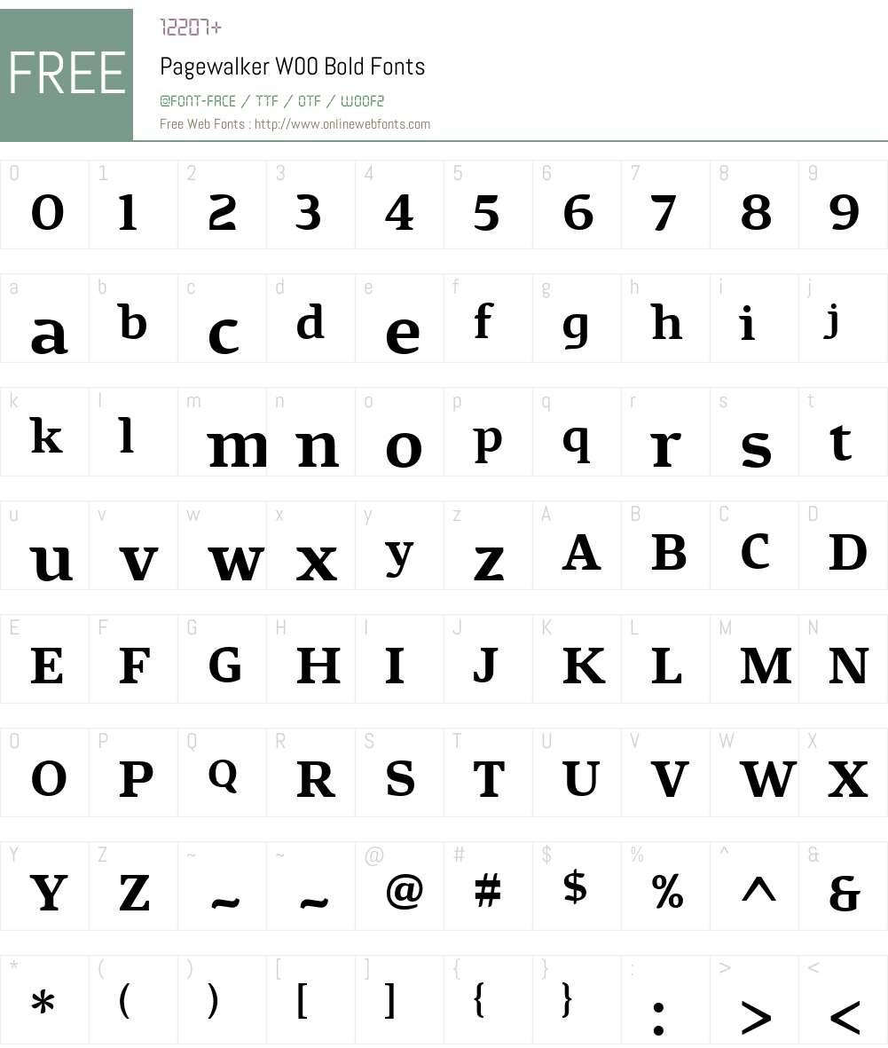 PagewalkerW00-Bold Font Screenshots