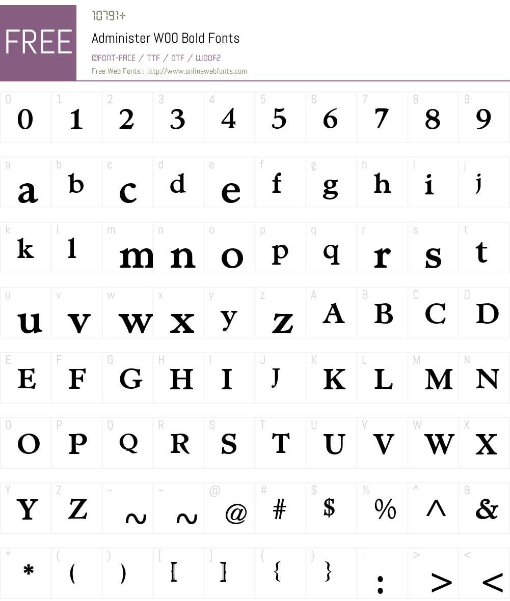 AdministerW00-Bold Font Screenshots