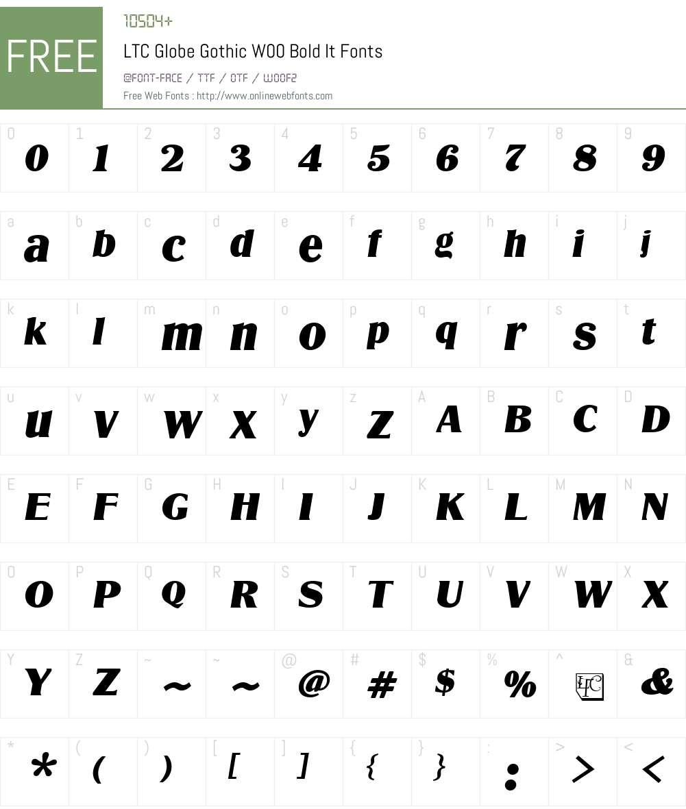 LTCGlobeGothicW00-BoldIt Font Screenshots
