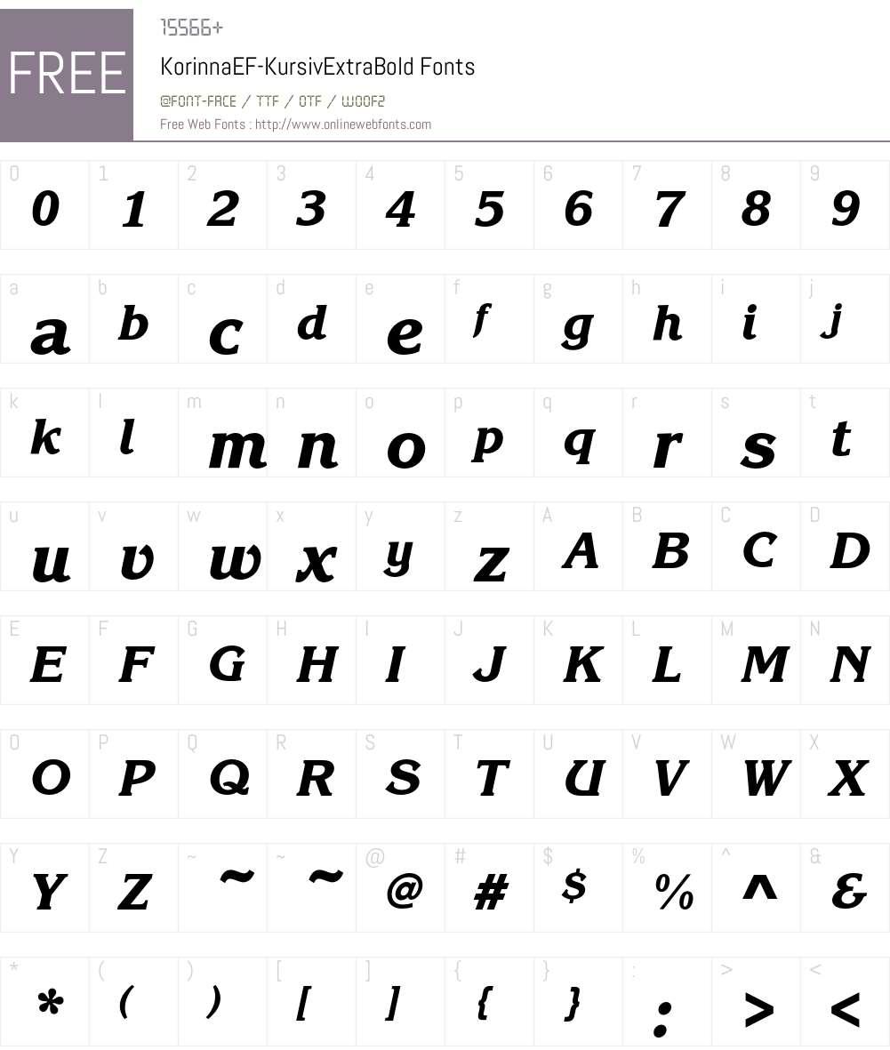 KorinnaEF-KursivExtraBold Font Screenshots
