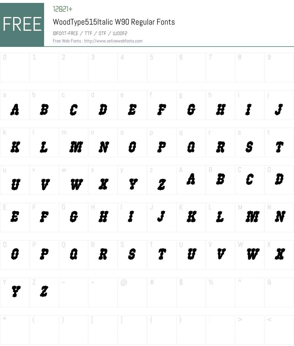 WoodType515ItalicW90-Rg Font Screenshots