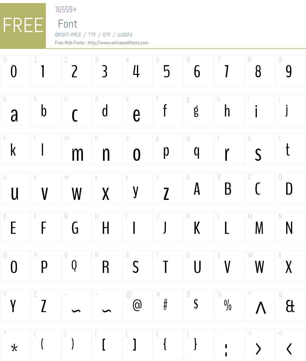 BenchNine Font Screenshots