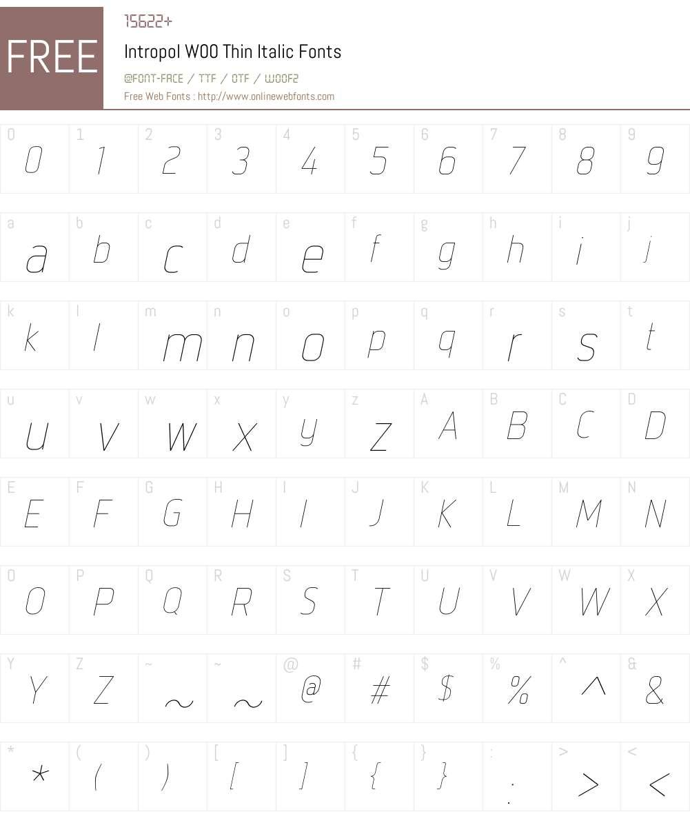 IntropolW00-ThinItalic Font Screenshots