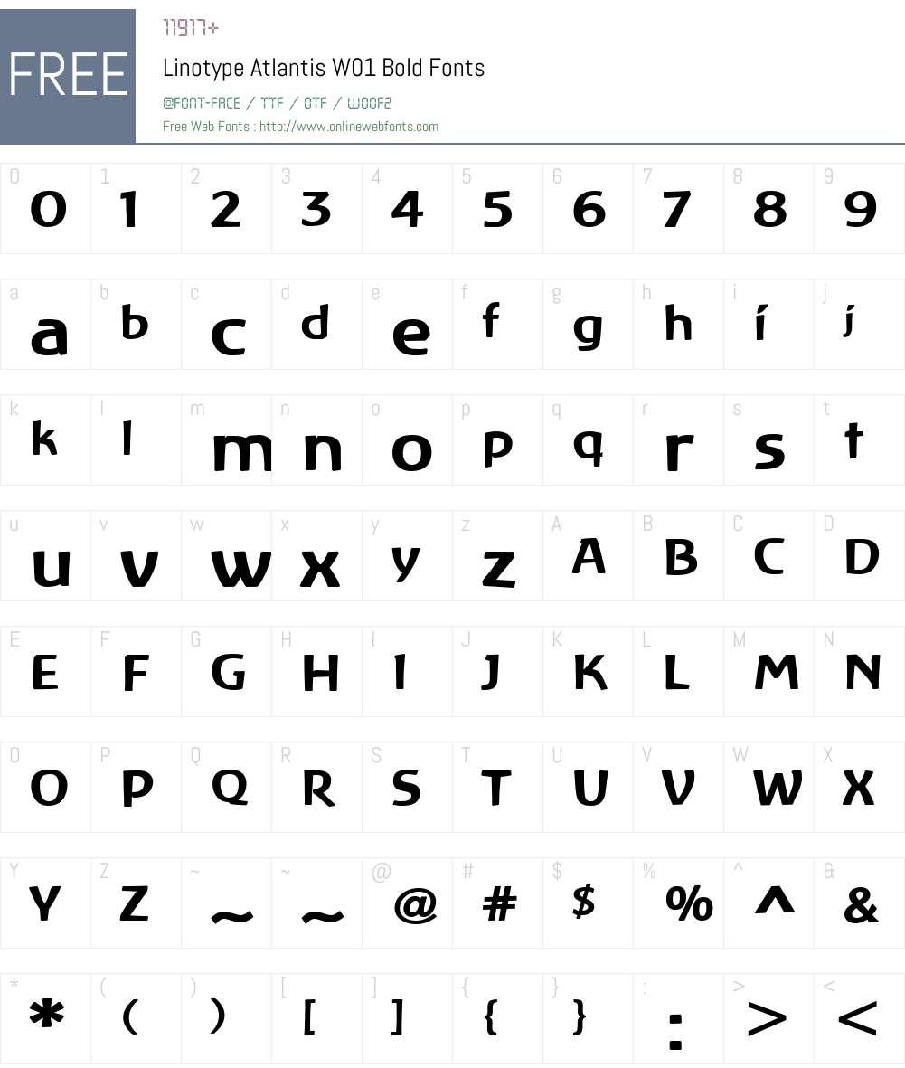 LinotypeAtlantisW01-Bold Font Screenshots