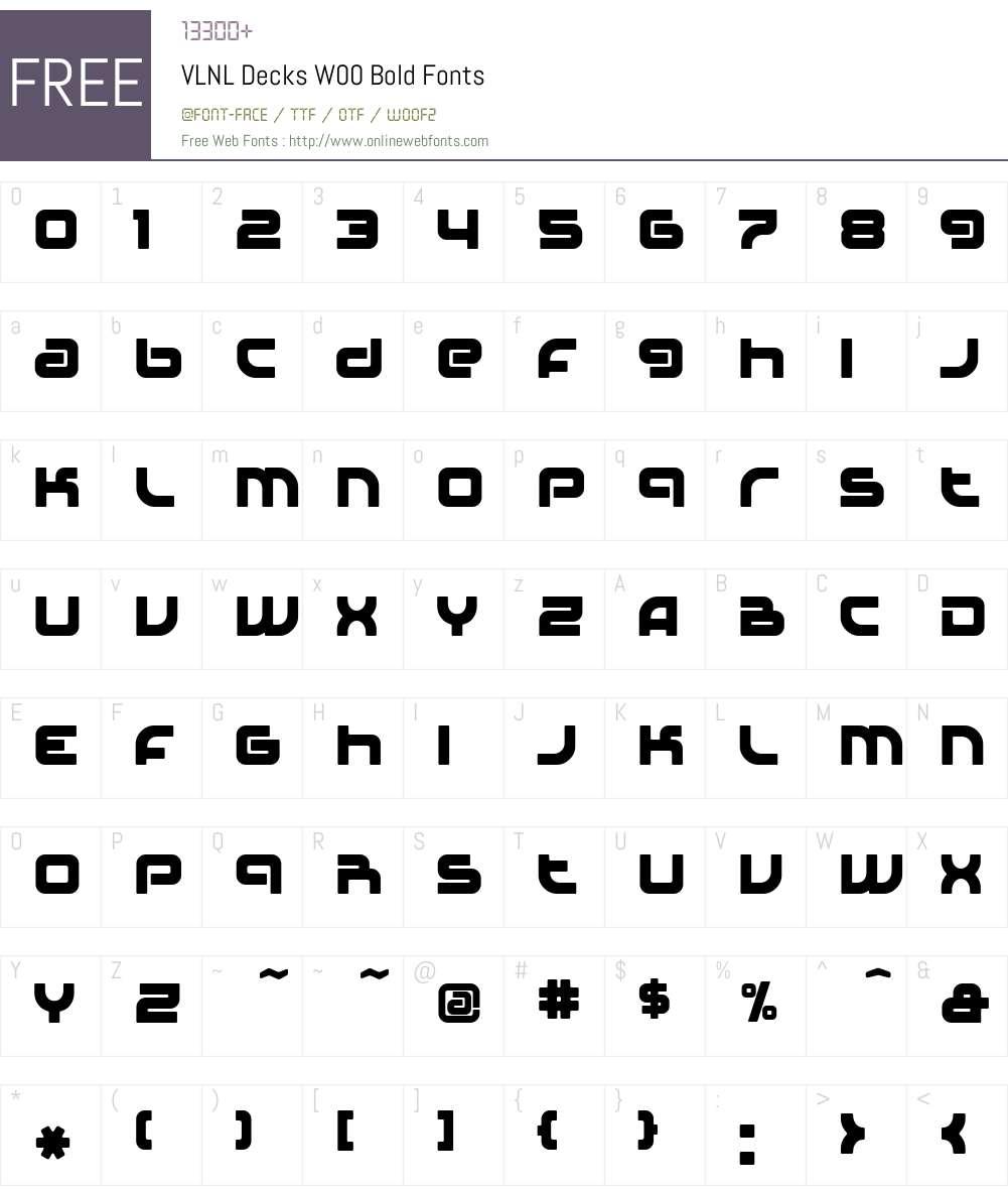 VLNL Decks Font Screenshots