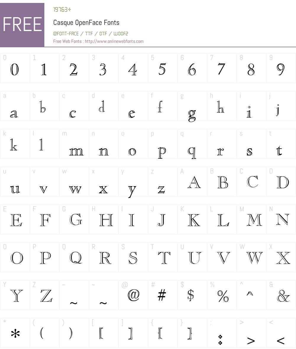 Casque OpenFace Font Screenshots