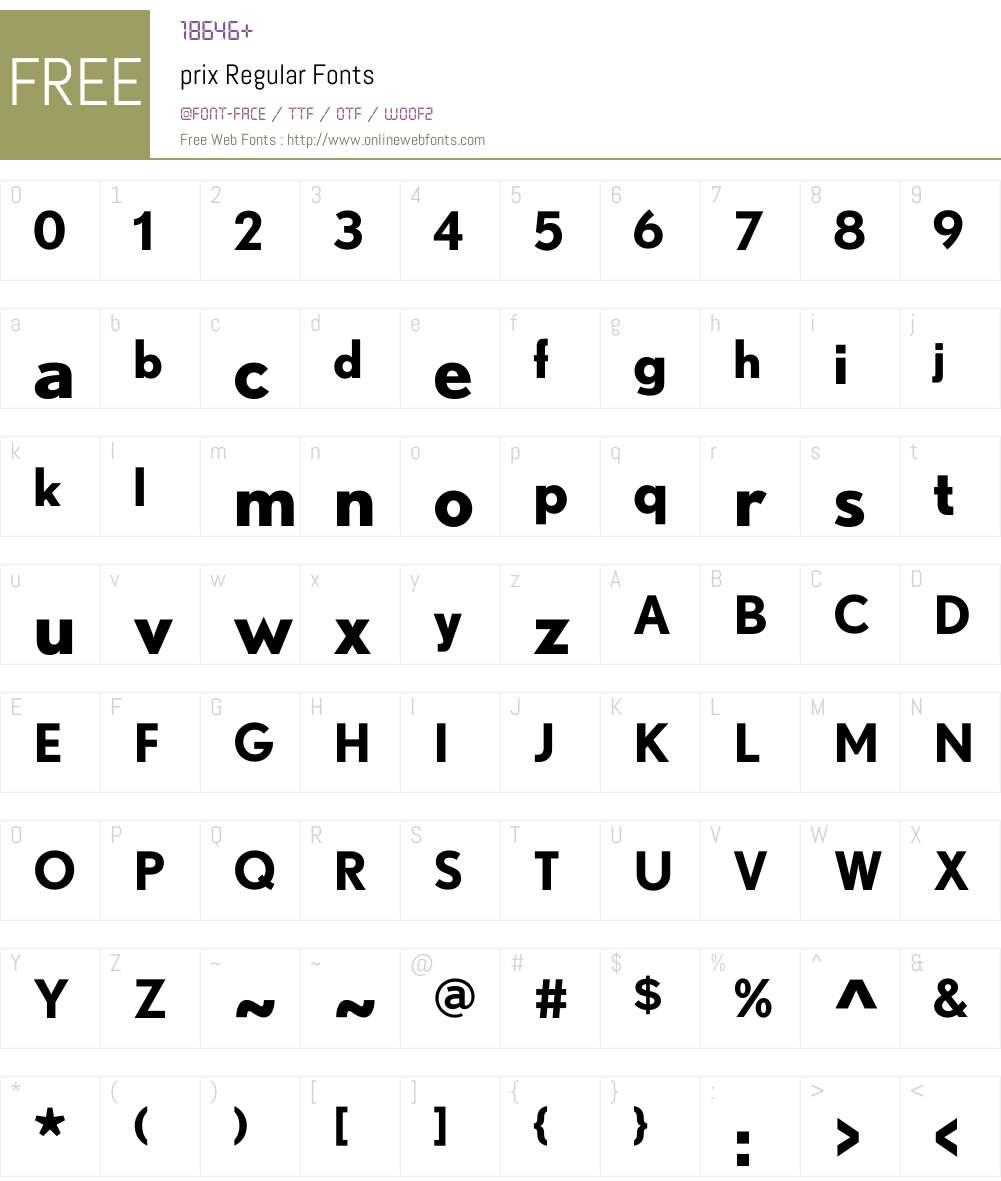 prix Font Screenshots