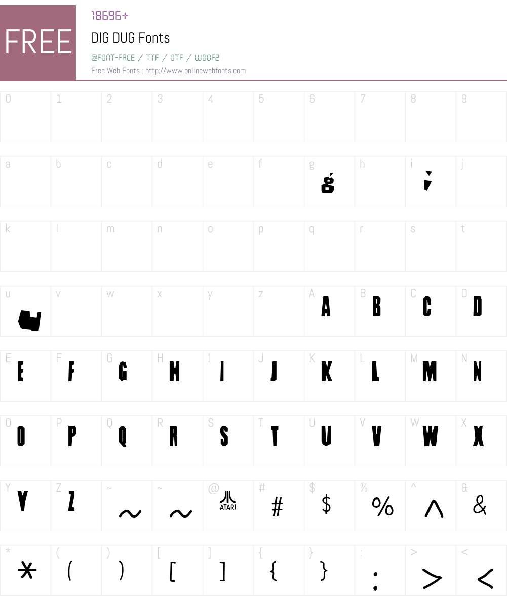 DIG DUG Font Screenshots