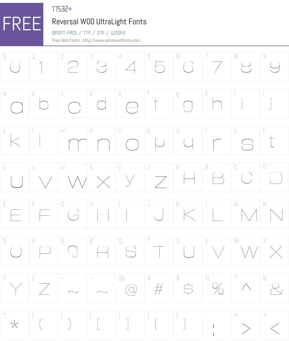 ReversalW00-UltraLight Font Screenshots