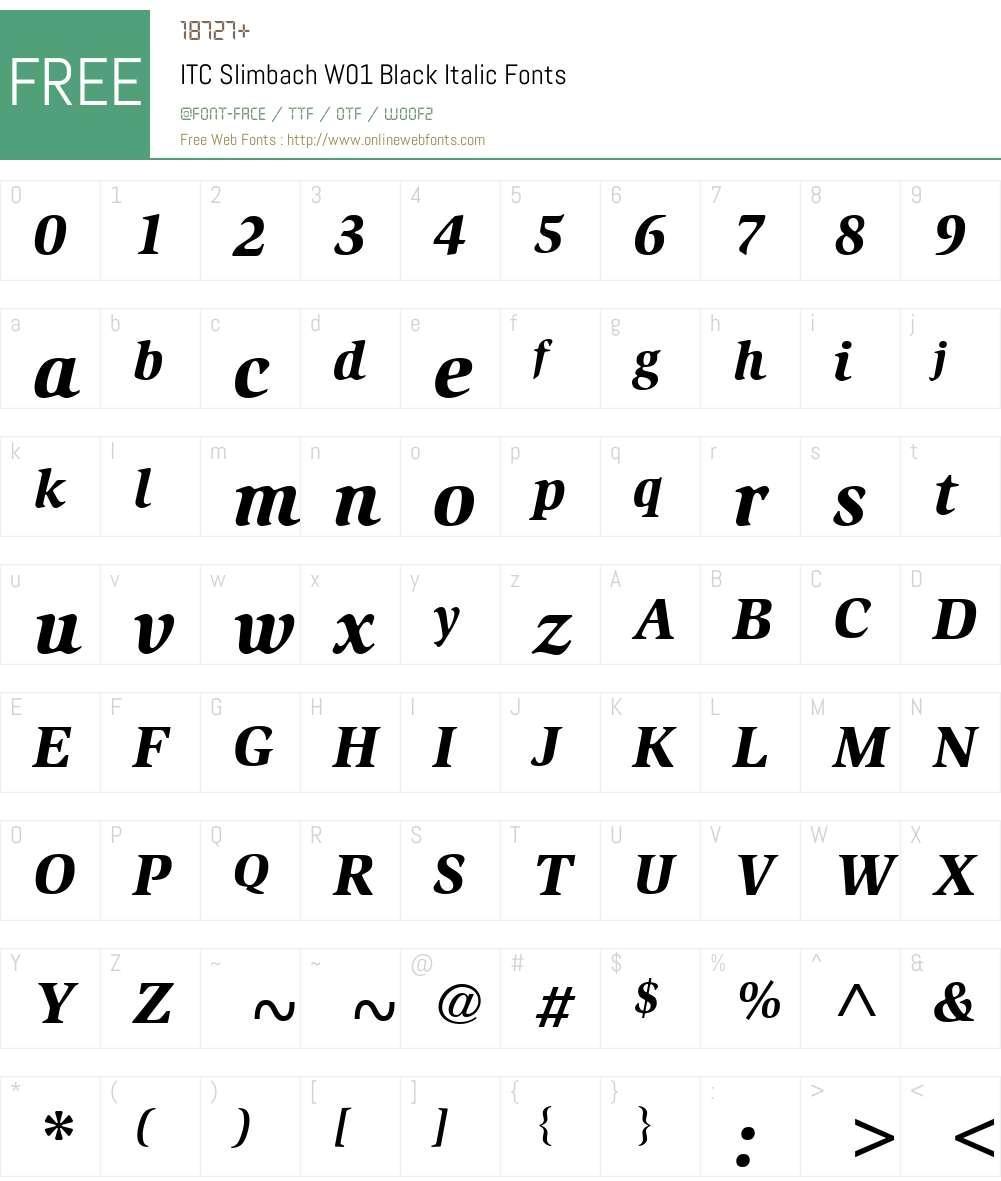 ITCSlimbachW01-BlackItalic Font Screenshots