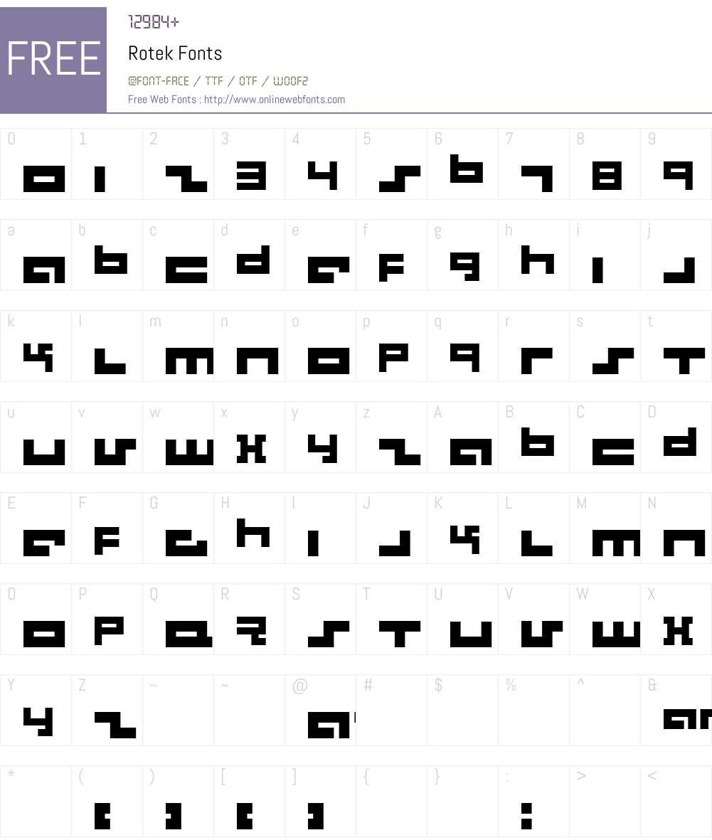 Rotek Font Screenshots