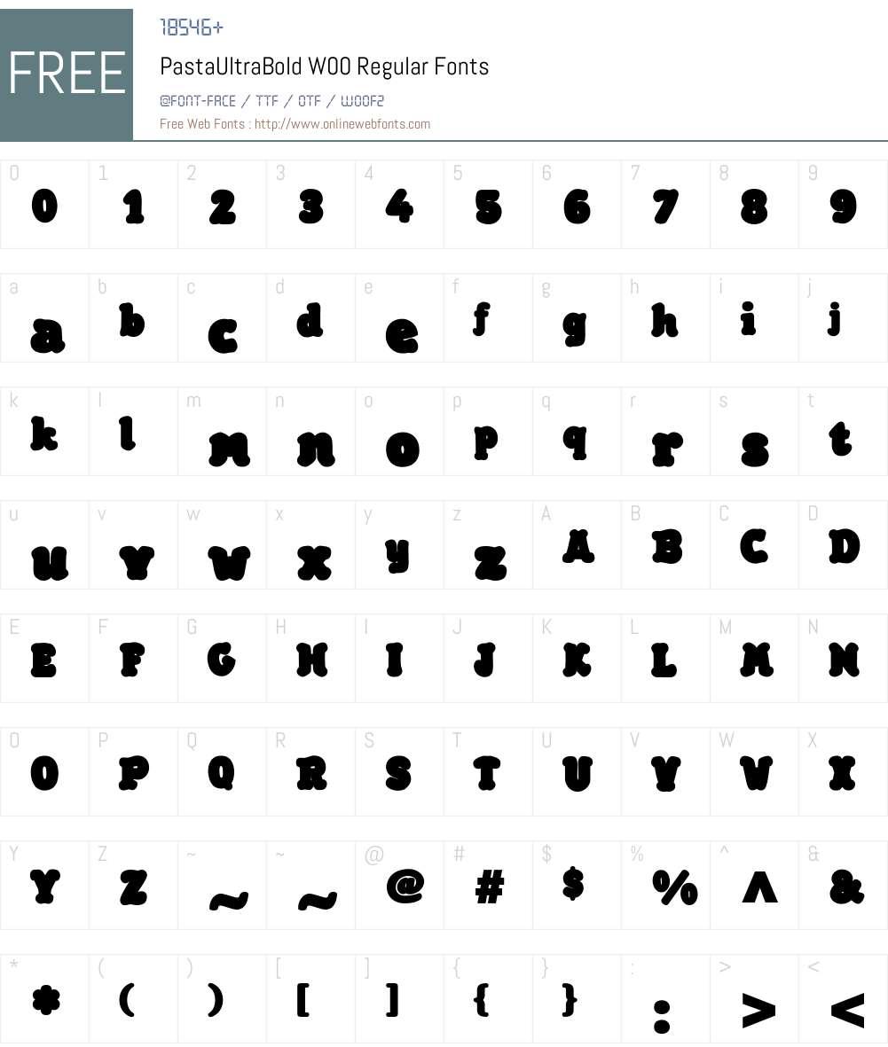PastaUltraBoldW00-Regular Font Screenshots