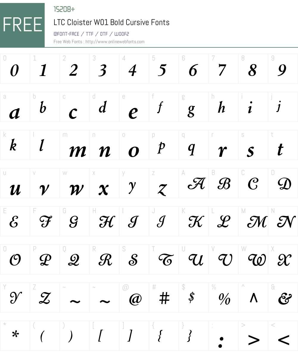 LTCCloisterW01-BoldCursive Font Screenshots