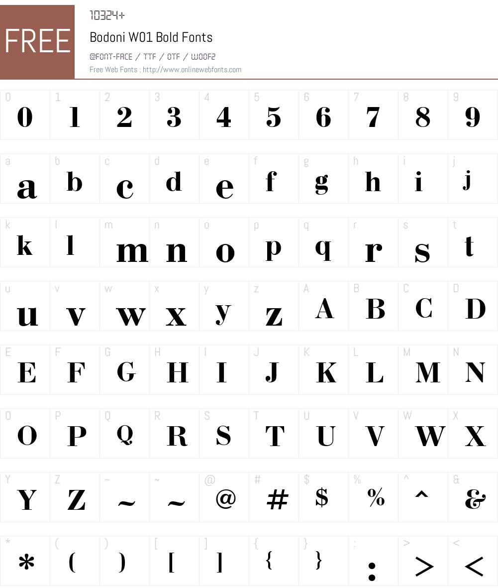 BodoniW01-Bold Font Screenshots
