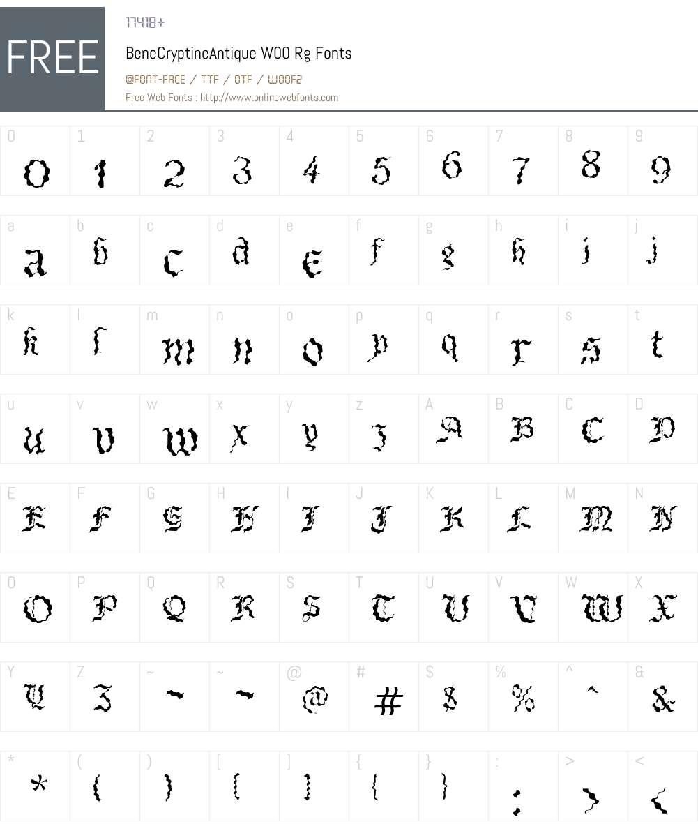 BeneCryptineAntiqueW00-Rg Font Screenshots