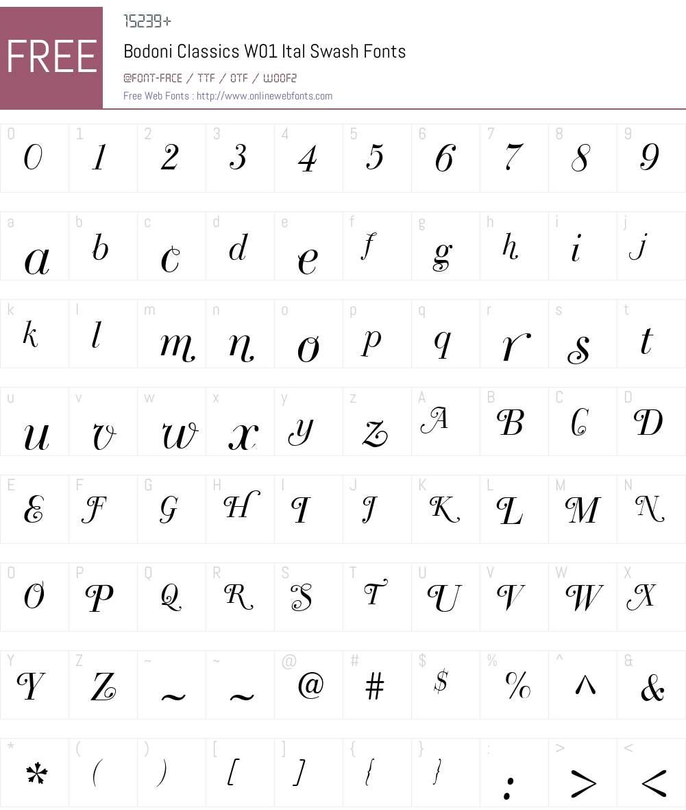 BodoniClassicsW01-ItalSwash Font Screenshots