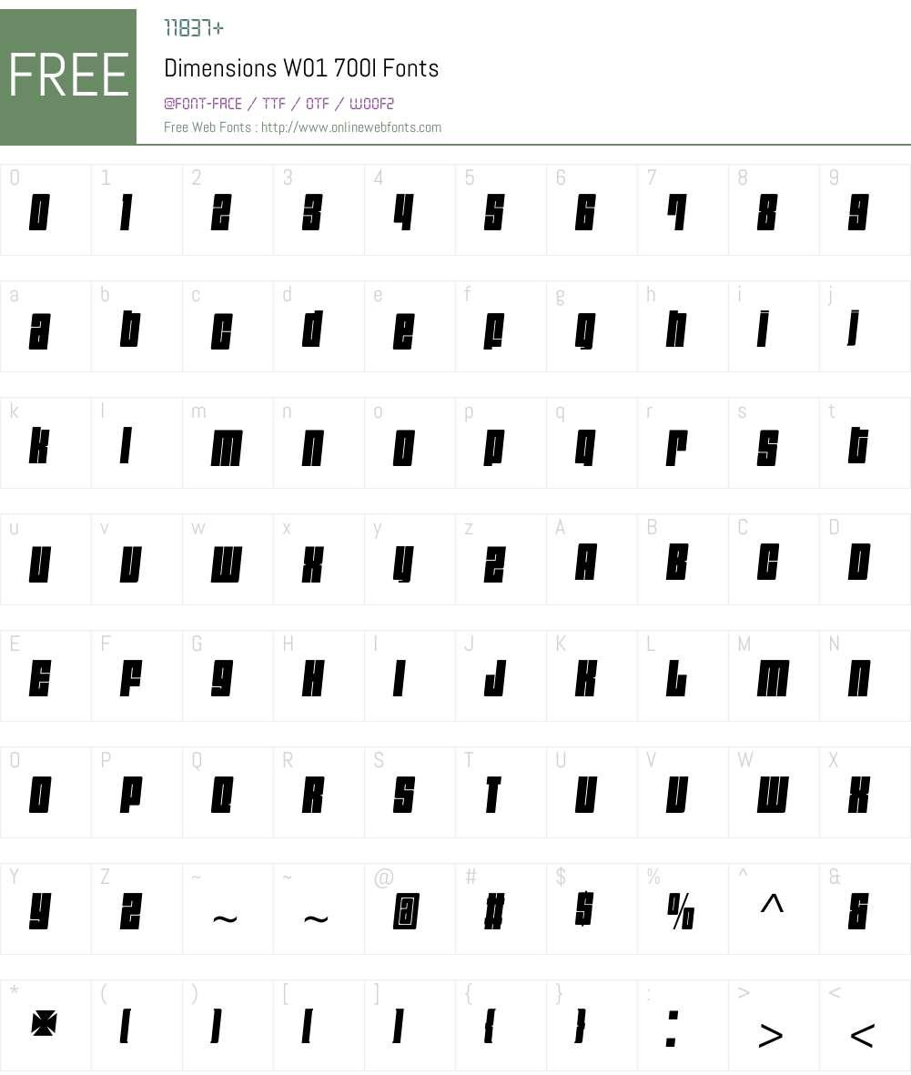 DimensionsW01-700I Font Screenshots