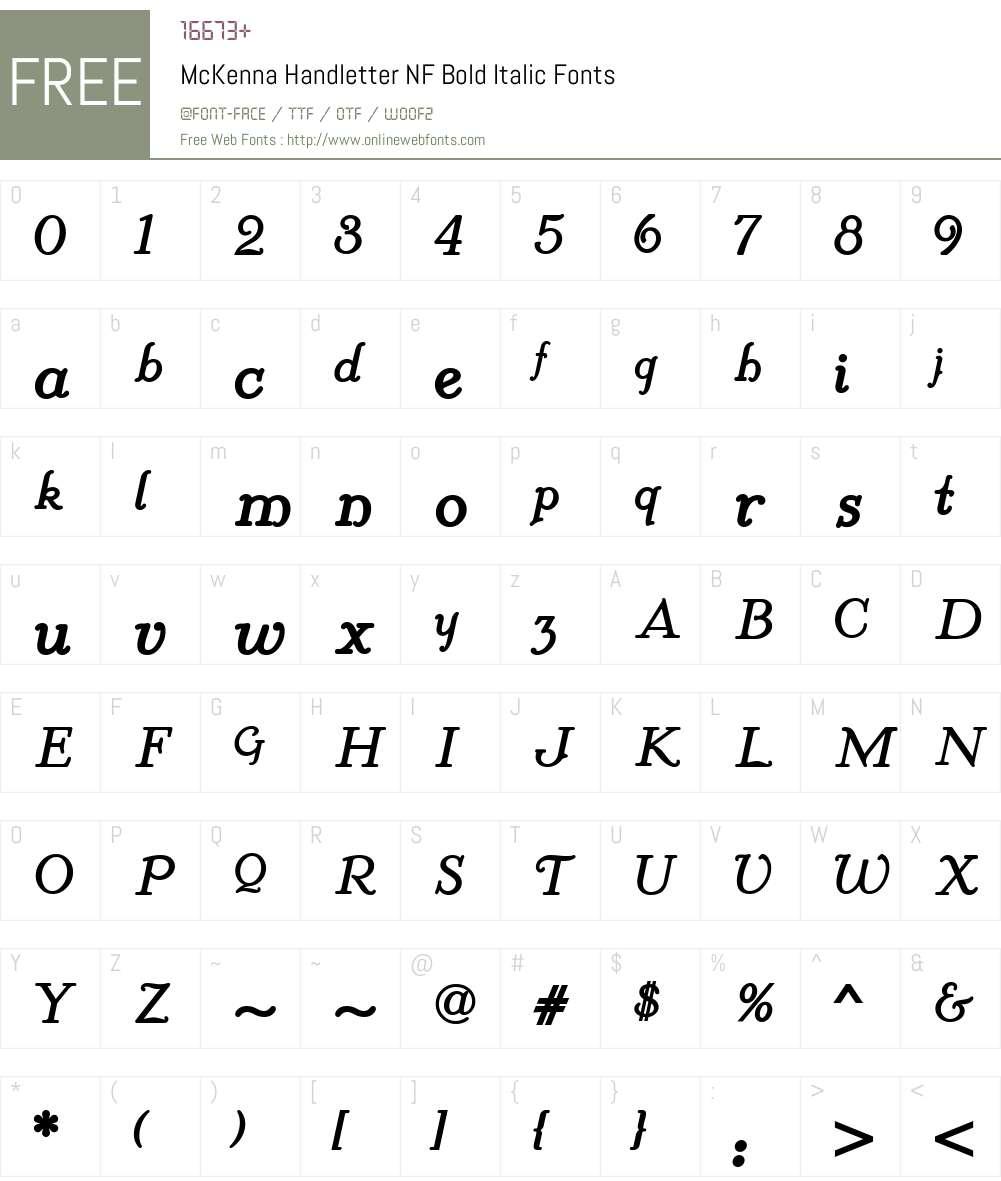 McKenna Handletter NF Bold Italic Font Screenshots