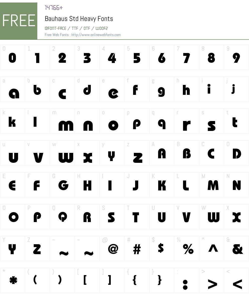 Bauhaus Std Font Screenshots
