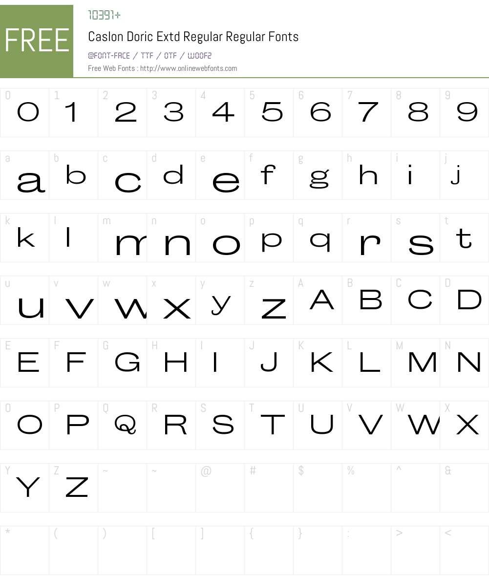 Caslon Doric Extd Regular Font Screenshots