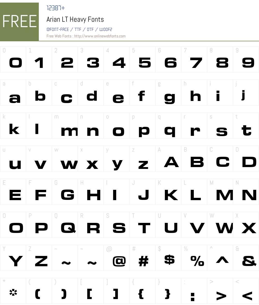 ArianLT-Heavy Font Screenshots